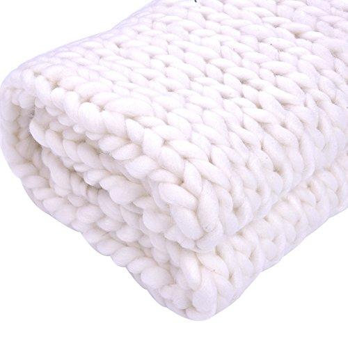 Handgefertigte Dicke Wollgarndecke für Sofa, weiß, 150 * 120 cm