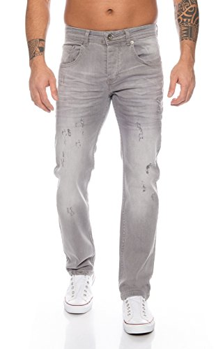 Rock Creek Herren Jeans Destroyed Grey RC-2105 [W44 L32] -
