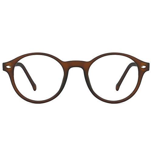 TIJN Herren Damen Retro Runde Brille Ohne Stärke Klare Linse Brillenfassung Braun