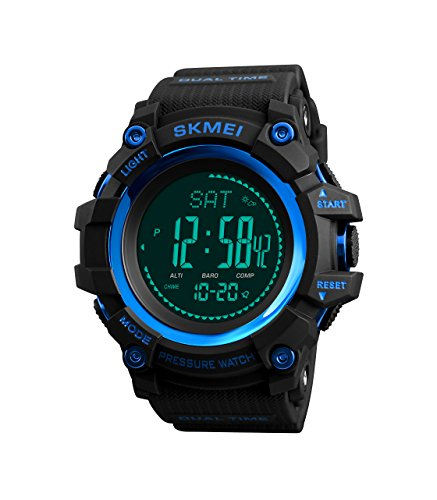 JQXB Digitale Uhr Herren Fitness Tracker Schrittzähler Kompass Altimeter Barometer Thermometer Countdown Kalorien Outdoor Sport Militärische Armbanduhren,Blue (Digital Kinder Kompass Uhr Mit)