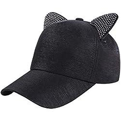 LAMEIDA Gorra de béisbol de Orejas de Gato de Color Liso Sombrero de Verano Size 54-58cm (Negro)
