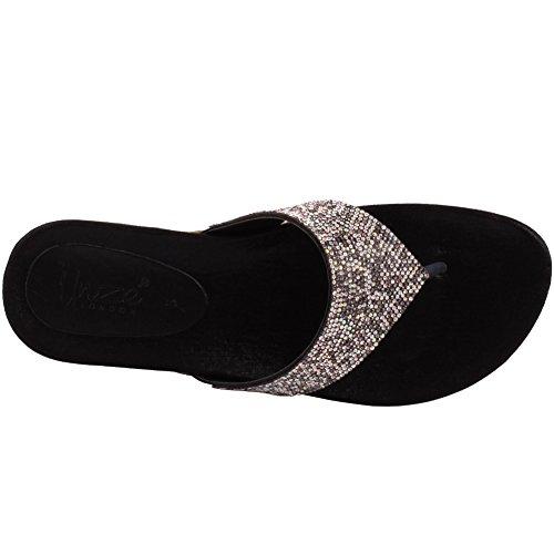Unze REGALIA Beads Jewel sera del partito di nuovo signore delle donne Carnevale Prom piatto Estate Pantofola Scarpa UK 3-8 Nero