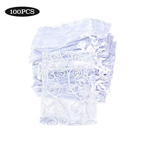 Buondac (8*11cm) 100pz sacchetti organza colorato bustine buste sacchettini per confetti gioielli matrimonio comunione battesimo festa ( bianco )