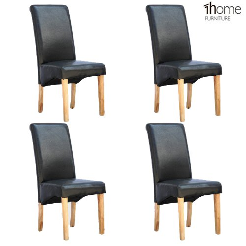 1home 4 x Leather Black Dining Chair w Oak Finish Wood Legs Roll Top High Back