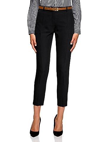 Pantalon Femme Dore - oodji Collection Femme Pantalon Fuselé avec Ceinture,