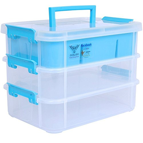 Oheligo 3 Layer Plastic Medicine Medical Kitchen Storage Box ,Transparent ,Size 28X18X19 cm