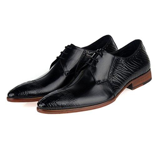 GRRONG Chaussures En Cuir Pour Hommes D'affaires Tenue En Cuir Véritable Pointu Black