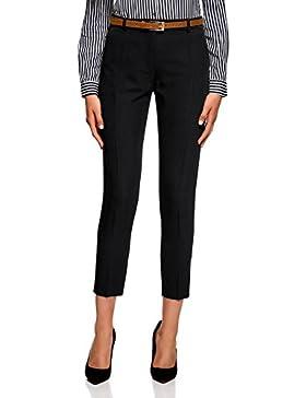 oodji Collection Mujer Pantalones Ajustados con Cinturón, Negro, ES 40 / M