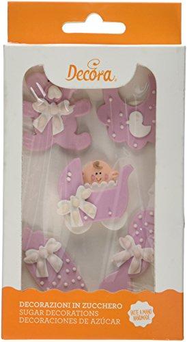 Decora Decorazioni Di Zucchero Baby Nursery, Rosa - 1 Confezioni Da 5 Unità