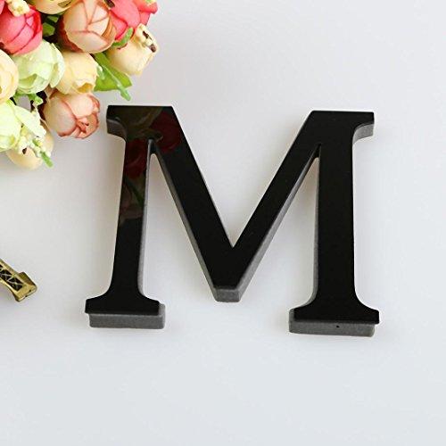 3D DIY 26 Letters Mirror Sticker, Indexp Creative Symbol Acrylic Creative Home Decorative Art Window Wall Decals (Black, M)
