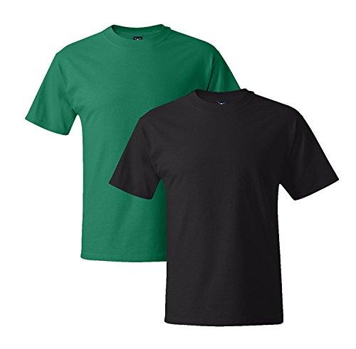 Hanes Mens 5180 Short Sleeve Beefy T 1 Black / 1 Kelly Green