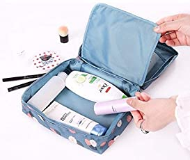 BlushBees Waterproof Fabric Travel Cosmetic Toiletry Blue Bag Kit (21x18x8cm)