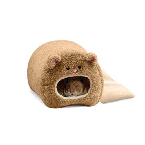 Pixnor Ratti criceto inverno caldo pile appeso gabbia amaca simpatico orso House con letto Mat per Small Furry Animals