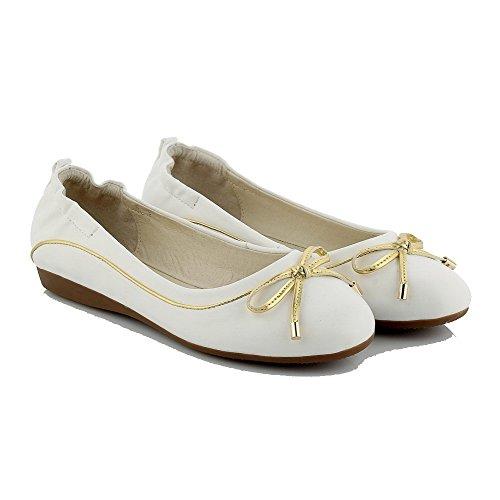 Disegna Basso Luce Bianca Rotondo Colore Tacco Agoolar Donna Materiale Morbido Solido Scarpe wZY77O