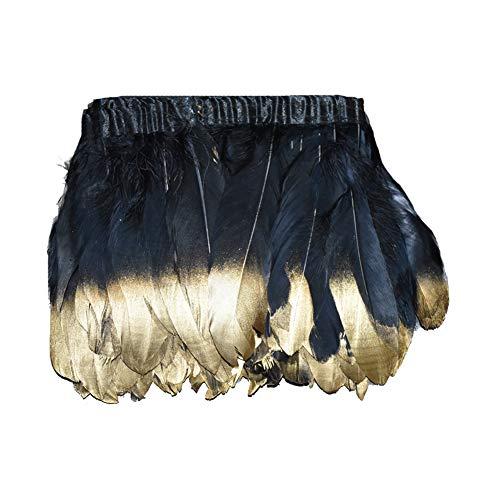 Spray Gold Trim (Kolight 0,2 m gefärbtes Spray Gold/Silber natürliche Gänsefedern, 15,2-20,3 cm Fransenbesatz, DIY Kleid, Nähen, Basteln, Kostüme, Dekoration Schwarz/Gold)