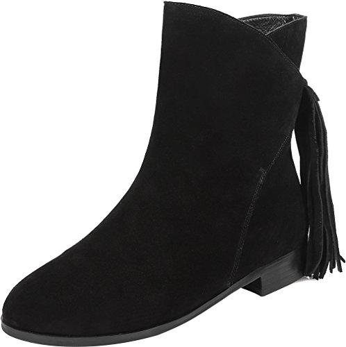 ELEHOT Donna Eleeven tacco a blocco 2CM Leather Stivali, nero,