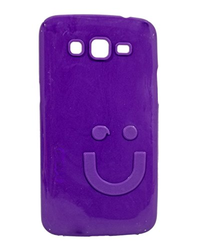 iCandy™ Imported Quality Soft TPU Smiley Back Cover For Samsung Galaxy Grand 2 G7102 - Purple  available at amazon for Rs.109