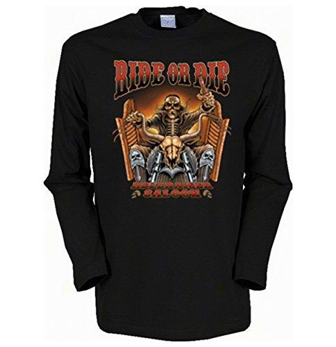 Herren Langarm-Shirt ::: Ride or Die - Hellraiser Saloon ::: für echte Biker Schwarz