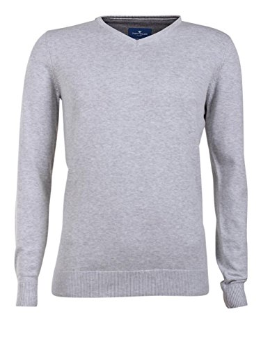 TOM TAILOR - Pull - Homme White Grey Melange (2659)