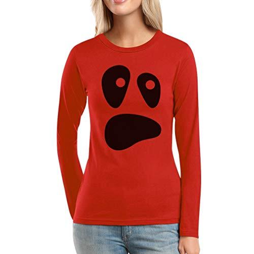 Kostüm Face Killer Ghost - Shirtgeil Witzige Ghoul Face Halloween Ghost Kostüme Damen Frauen Langarm-T-Shirt X-Large Rot