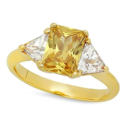 Gold Plated Emerald-Cut Golden Yellow CZ Three-Stone Ring, Size 7.5 + Microfiber Jewelry Polishing