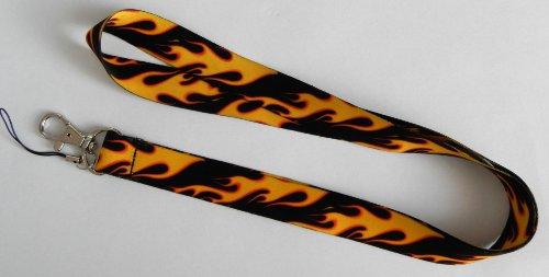 Schlüsselband/LANYARD gelb und schwarz Flamme (Lanyard Nano)