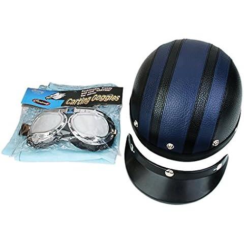 Casco Protector de Moto Motocicleta Cara Abierta Visor Gafas - Azul