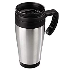 Xavax Isolierbecher Auto (Coffee-to-go, 400 ml, für Heiß- / Kaltgetränke, mit Henkel, aus Edelstahl) silber