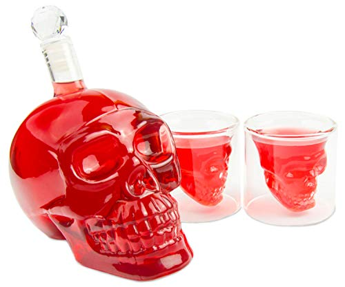 BlueFox Skull-Flasche 550ml mit 2 Totenkopfgläser 70ml, Totenkopfflasche, Vodka, Whiskey, Dekanter, Schnapsglas, Glas
