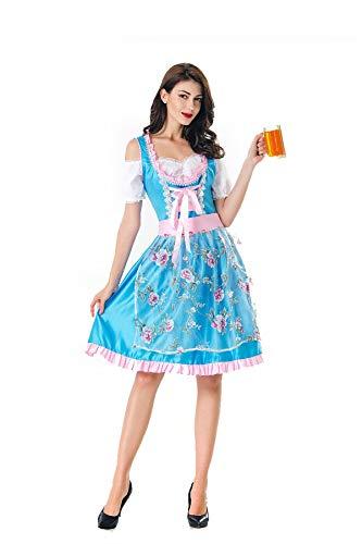Oktoberfest Deutsche Kostüm Weiblich - Simmia Halloween Kostüm,Halloween-kostüm Adult weiblich Deutsch Oktoberfest kostüm Cosplay Maid uniform bühne kostüm, blau, M