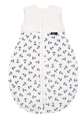 Alvi Baby Mäxchen Light - Leichter Sommer-Schlafsack ohne Arm Babys Schlafsack ungefüttert Birnenform, 100% Baumwolle Öko-Tex 100 zertifiziert, Größe:80, Design:Anker marine 833-1
