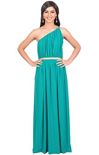 KOH KOH® Plus Size Damen Schulterfrei Cocktail Maxikleid Griechische Göttin Elegantes Abschlussfeier Kleid, Farbe Türkis, Größe 3XL / 3X Large (3) (Der Braut Mutter Türkis Kleid)