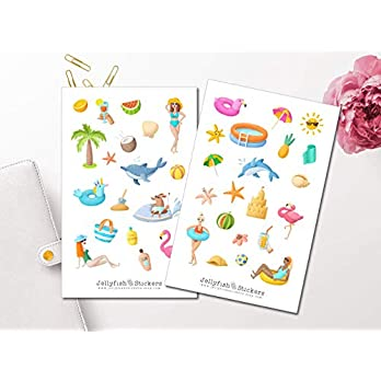 Pool Sticker Set | Sommer Aufkleber | Journal Sticker | Strand Sticker | Planersticker | Urlaub, Sommerferien