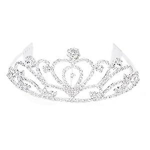 Pixnor, Hochzeits-, Ball-, Brautschmuck-Krone mit Dekor aus Strass-Kristall, Stirnband, Tiara (Silber)