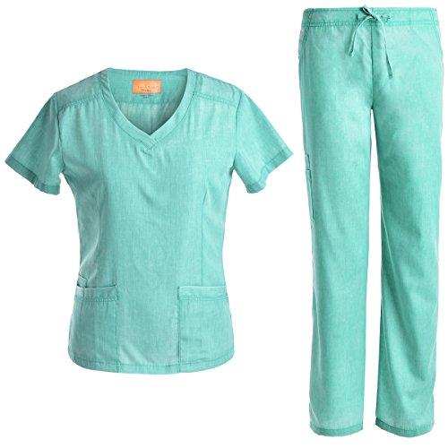JS1602 Pflegeset, schmale Uniformen, V-Ausschnitt, für Damen, Jeanish - Grün - Mittel