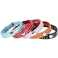 [Gesponsert]Hundehalsband, zweireihiger Strasssteinbesatz, Herz-Design, Leder, für kleine und mittelgroße Rassen, verschiedene Farben