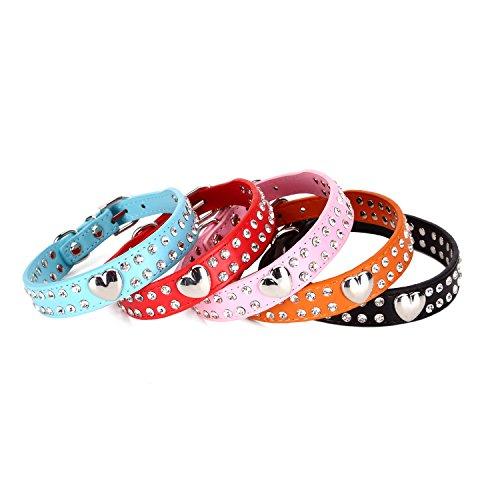 Hundehalsband, zweireihiger Strasssteinbesatz, Herz-Design, Leder, für kleine und mittelgroße Rassen, verschiedene ()