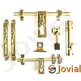 Jovial 1025 Door Fittings Kit, Door Accessories Kit, Door Kit Set (1 Aldrop, 1 Latch, 2 Handles, 1 Tower Bolt and 1 Door Stopper, Finish : Antique Brass)
