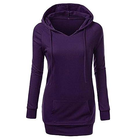 Webla Womens Long Sleeve Hoodie Sweatshirt Jumper Pullover Jacket (Large, Purple)