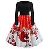 IZHH Damen Vintage Kleider Weihnachten Frauen Geschenk Langarm O Hals Weihnachtsmann Druck Vintage Kleid Abend Party Dressoutdoor Club Karneval Thanksgiving Kleid(Rot,Small)