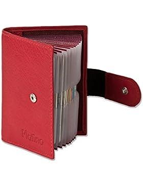 Platino - caso de la tarjeta de crédito-XXL con 18 bolsillos para tarjetas de cuero suave, sin tratar