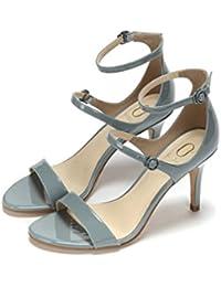 La Modeuse-zapatillas de tipo slip-on A Plataforma de piel sintética, diseño de piel de cocodrilo, Azul (azul), 36