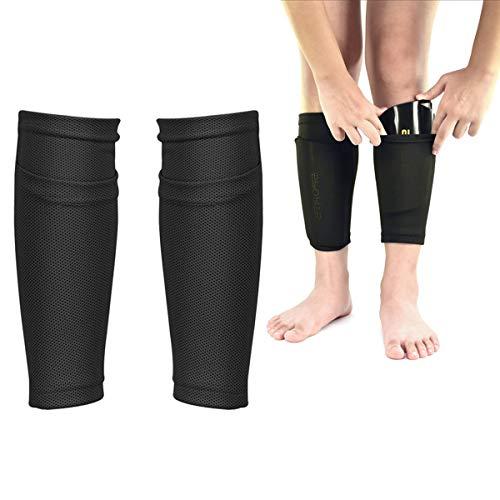 Fodlon Soccer Shin Guard Socken mit Tasche Ärme, Fußball Ausrüstung mit Taschen Kompressionswade Ärm (Schwarze Kinder-S)