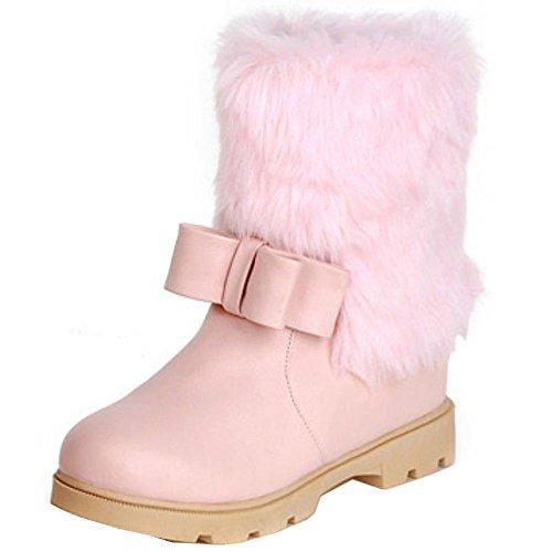 TAOFFEN Damen Winter Warm Flache Langschaft Schnee Stiefel Mit Synthetik Fell Rosa