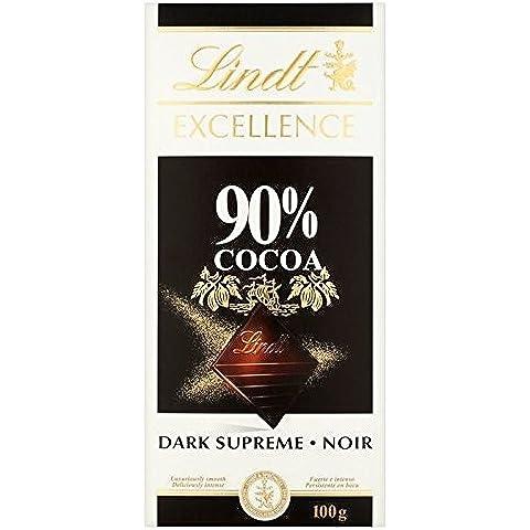 Lindt La Excelencia Suprema 90% De Chocolate Oscuro Barra De 100g (Paquete de 6)