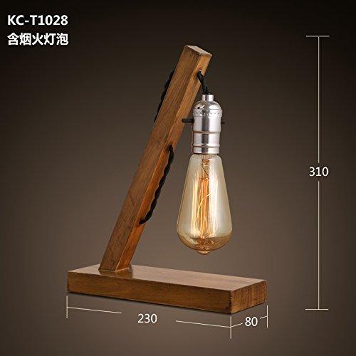 Preisvergleich Produktbild TD Tischlampe-Massivholz Holz Persönlichkeit kreative alte Lampen Retro Schreibtischlampe,  Das Café in vitro Feuer Glühbirne, Mit Feuerwerk Glühbirne