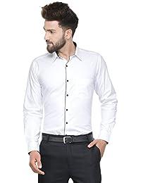 HANCOCK White Solid Pure Cotton Slim Fit Formal Shirt