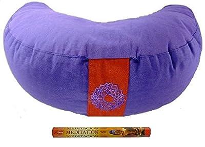 Meditationskissen- Yogakissen halbmond Chakra 7 Indigo 33x13 cm Inkl. 20 Meditation Räucherstäbchen, Geschenkt