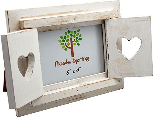 Nicola spring cornice portafoto, in legno, autoportante, con ante, design a cuore, colore bianco, 15 x 10 cm