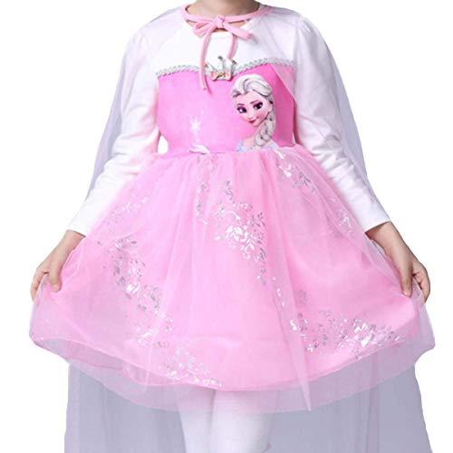 LOBTY Mädchen Kostüm Prinzessin Kleid Kostüme Eiskönigin Prinzessin Kostüm Kinder Kleid Mädchen Weihnachten Verkleidung Karneval Party Halloween Fest Gefrorene Prinzessin Langarm Netzkleid